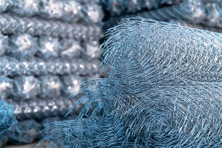 Rolls of steel wire mesh for construction work in warehouse