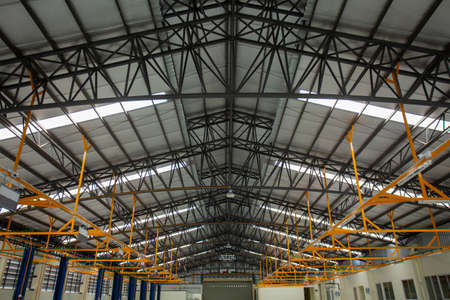 Steel roof frame, Car repair service center, The interior of a big industrial building or factory with steel constructions, inside the roof structure