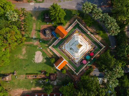 Aerial view Pagoda of Wat Phra That Bang Phuan is the old temple in Nongkhai of Thailand