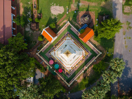 Top view Pagoda of Wat Phra That Bang Phuan is the old temple in Nongkhai of Thailand