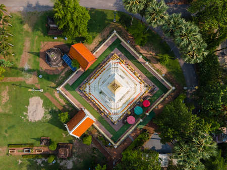 Aerial view or Top view Pagoda of Wat Phra That Bang Phuan is the old temple in Nongkhai of Thailand