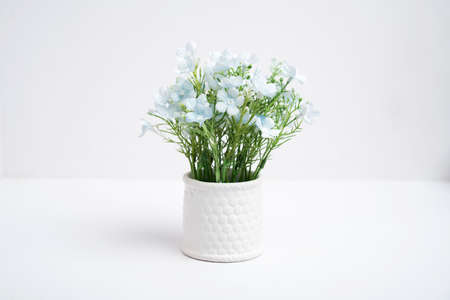 Fake flower pots in a vase on white background, Plastic flower