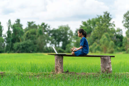 Asian girl studying meditation or yoga by online learning with laptop at outdoor, countryside of Thailand