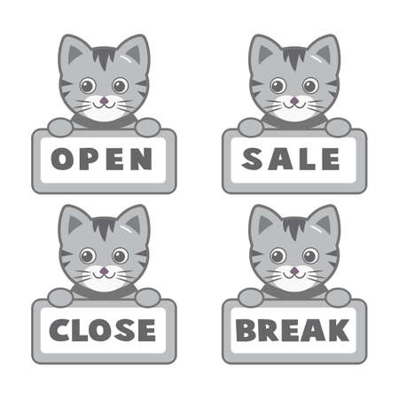 Open and closed board signs The sign is openly close, animal Vector icons Come In, We're or We are Open Sorry we're closed signboard office or store market old door icons