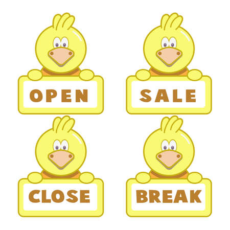 Open and closed board signs The sign is openly close, animal Vector icons Come In, We're or We are Open Sorry we're closed signboard office or store market old door icons Ilustracje wektorowe
