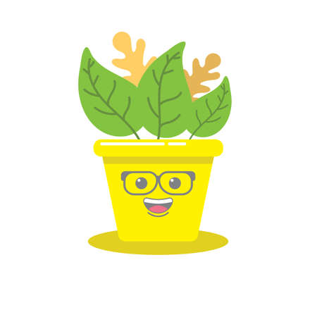 flower with smile and glass on faces and potted vector image Vektorové ilustrace