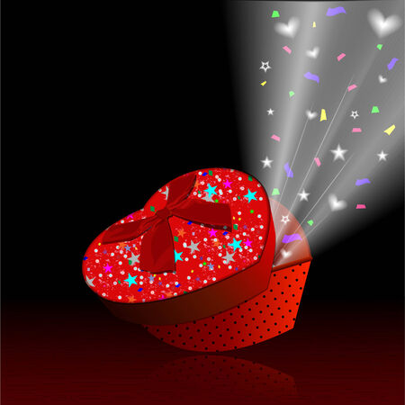 Red gift box open beam out of the box  Vector
