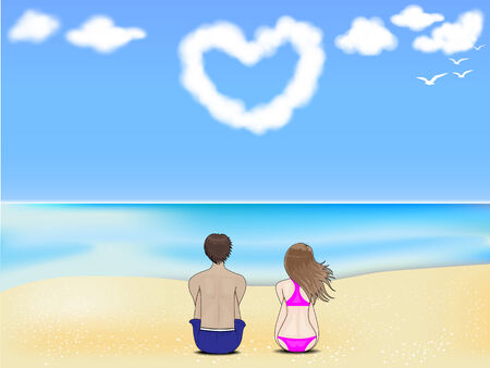 Couple sitting on the beach looking at the clouds with love  Vector