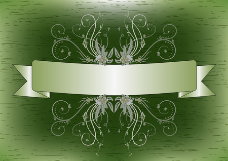 green texture: Ribbon with flower and background green texture.