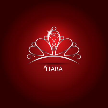 trono: Decorativo hermoso brillante tiara, ilustración vectorial. Vectores