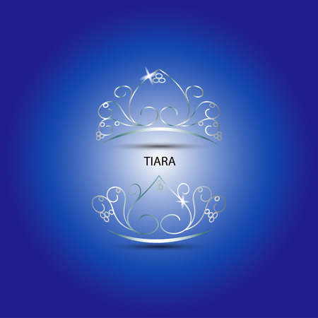 beauty pageant: Decorative tiara beautiful shining in blue background, vector illustration. Illustration