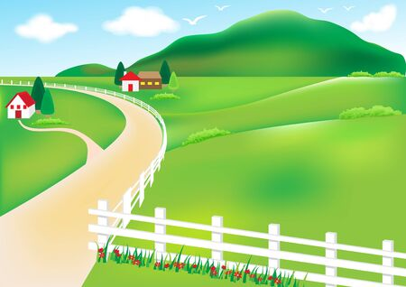 white fence: Vector landscape with mountain in background, rural and house white fence. Illustration