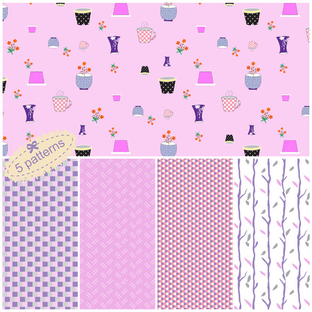 flower pots: Vector set of five seamless pattern collection with cute flower pots symbols, Lines and geometric elements.