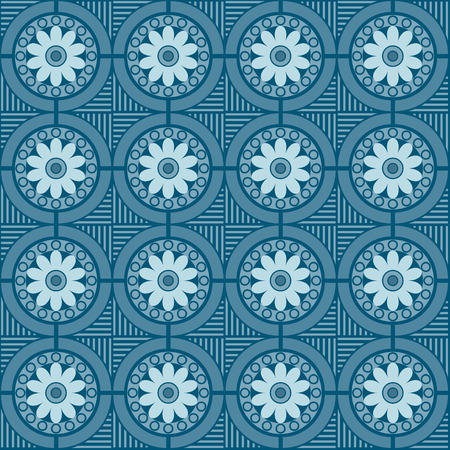tessellation: seamlessly  pattern with floral and geometric elements, pattern swatch included, vector
