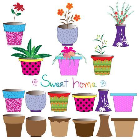 flowerpots: Set of colorful flowerpots,Vector illustration Illustration