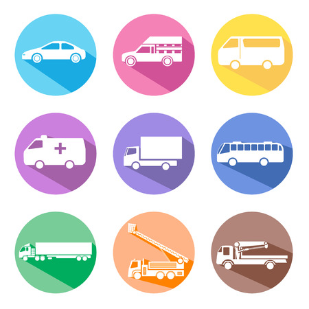 round icons: car icon set with long shadow