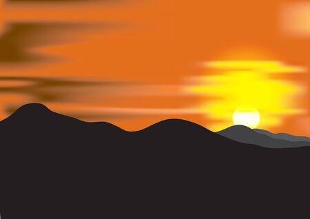 mountain range: Landscape with sunset at mountain range. Vector illustration.