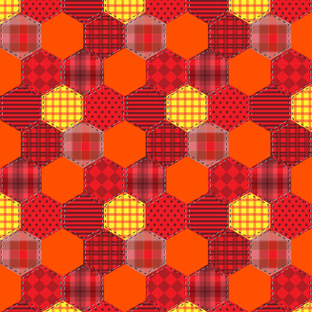 endlessly: Seamless background pattern. Patchwork fabrics hexagon with applique  flower. Will tile endlessly swatch included.