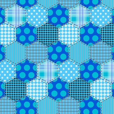 endlessly: Seamless background pattern. Patchwork fabrics hexagon with applique flower. Will tile endlessly swatch included. Illustration