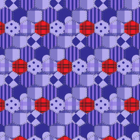 applique flower: Seamless background pattern. Patchwork fabrics hexagon with applique flower. Will tile endlessly swatch included. Illustration