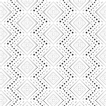 Rhombus a dash monochrome seamless pattern. Modern style simple black dotted line rhombus.