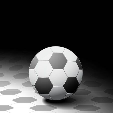 pelota de futbol: Balón de fútbol en fondo hexágono. Diseño de color monocromático.