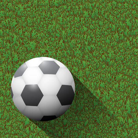 ballon foot: Ballon de football sur le terrain vert et de longues ombres. Illustration