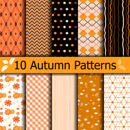 10 Autumn seamless patterns. Use for wallpaper, texture, fill, web page background, Set of halloween thanksgiving. swatches included.