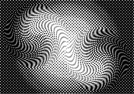 Optical illusion monochrome abstract background. Use for your design, cards, invitation, wallpapers, background, pattern fills, web pages elements. vector illustration. Ilustração
