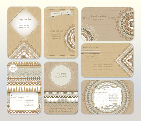 ideal: Set of brown shades vector design templates. Ideal for wedding, Ethnic vintage pattern, tribal, business cards, save the date, invitations. Vector illustration.