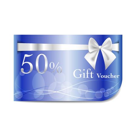 ruban blanc: Bon Cadeau carte bleue avec du ruban blanc et arc. illustration vectorielle.