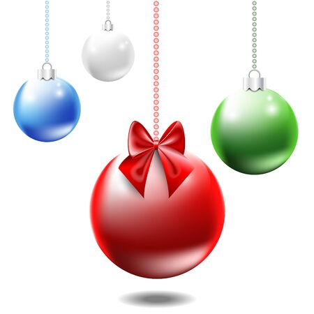 ribbons and bows: Colorful Christmas balls and decorated with bows and ribbons.