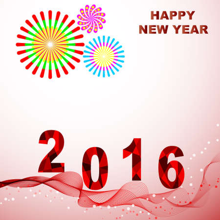 red wave: Happy New Year 2016 Colorful greeting card. Decorated with red wave and fireworks celebration. Vector illustration for poster design holiday greeting card or invitation.
