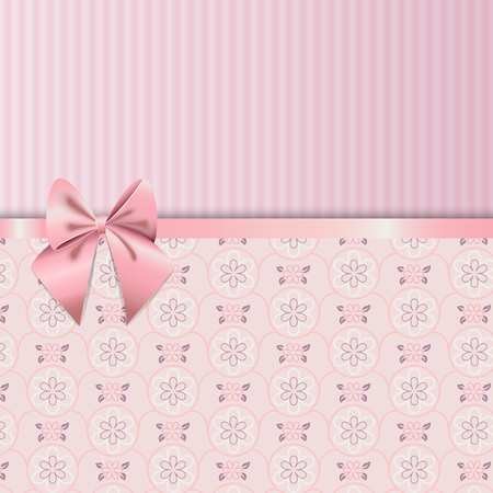 pink wallpaper: Rose Quartz flower seamless pattern. Decorated with ribbon and bow cute background on paper texture. Beautiful classic design is perfect for valentine day, birthday or woman day. swatches included.