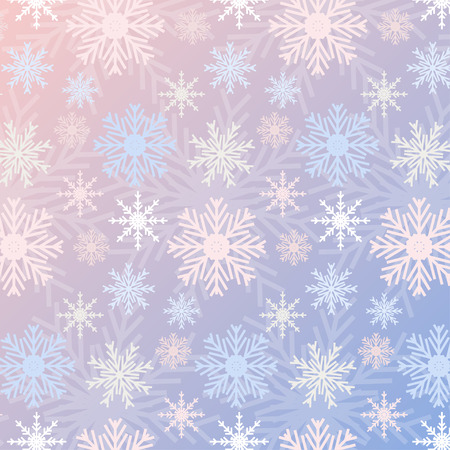 serenity: Snowflake seamless pattern gradient Rose Quartz and Serenity colored vintage background. Can be used for New Year and Christmas concepts. Snowfall elements, banners, posters, greeting cards. Vector design. swatches included. Illustration