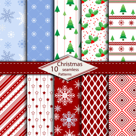 Set of 10 Merry Christmas and Happy New Year seamless pattern background. Can be used for your design. swatches included.