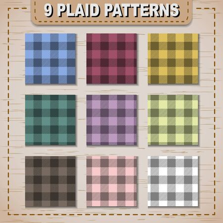 fabric samples: Set of plaid fabric samples in vector seamless pattern. Pattern swatches included in file.