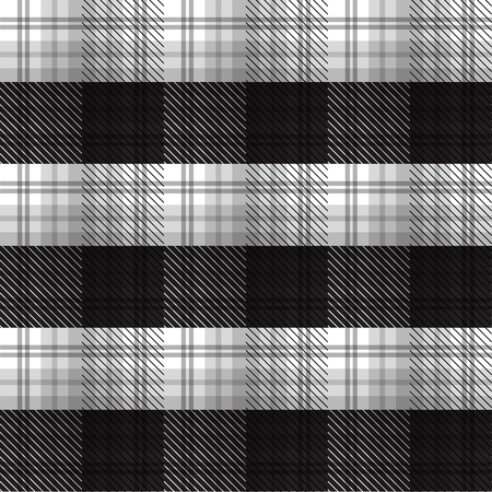 Black and White tartan plaid background in vector seamless pattern. Pattern swatches included in file.