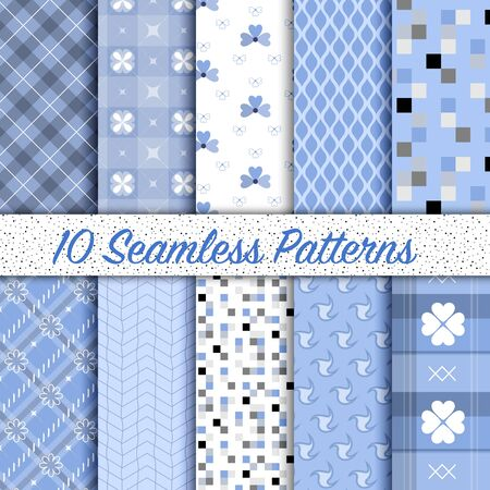 background colors: Set of 10 different vintage Serenity colored vector seamless patterns. Endless texture can be used for pattern fills, web page background, surface textures, Pattern swatches included in file. Illustration