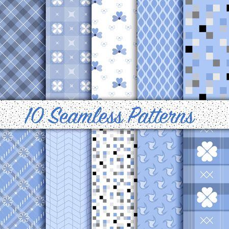 Conjunto de 10 patrones sin fisuras color de la serenidad vector vendimia diferentes. Textura fin se puede utilizar para los patrones de relleno, de fondo página web de texturas de superficie, muestras de motivos incluidos en el archivo.