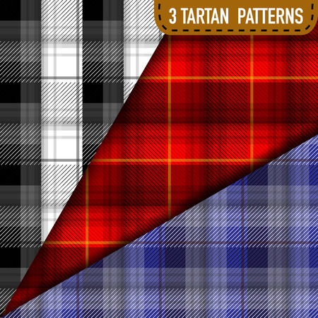 seamless tile: Set of three Tartan Plaid samples in vector seamless pattern. Pattern swatches included in file.