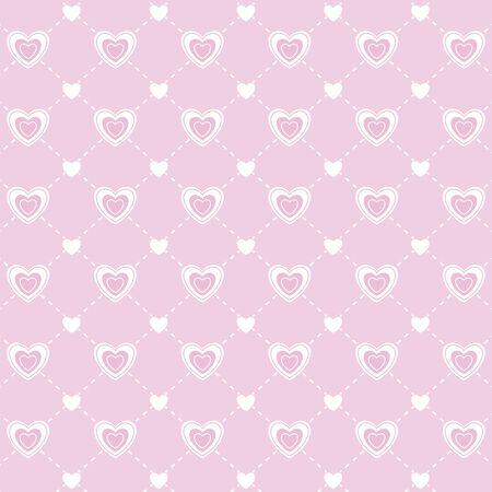 Modelo inconsútil del amor del día de San Valentín. la textura infinita de corazones en rosa y blanco. ilustración vectorial. Para las invitaciones, álbumes de recortes, tarjetas, carteles. muestras de motivos incluidas en el archivo.