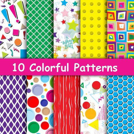 Set of 10 Colorful geometric seamless patterns collection. can be used for pattern fill surface, web page background, Wrapping paper. Pattern swatches included in file. Illustration