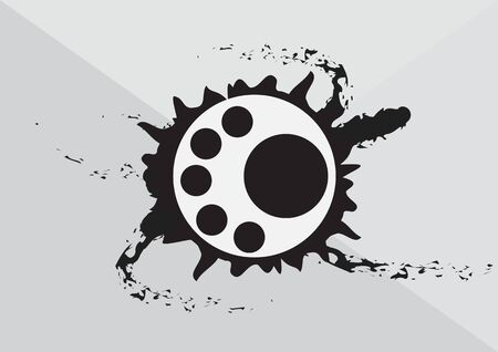 botton: Abstract art circular with black ink splash background Illustration