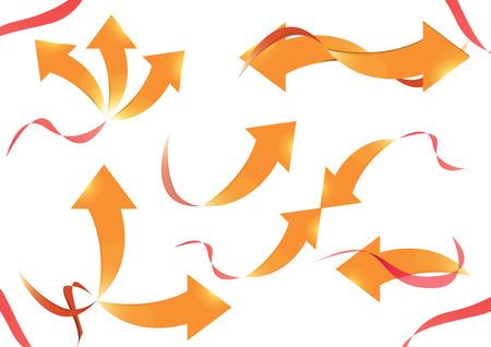 flechas curvas: Colección de flechas curvas, diseños vector con la flecha del oro y la cinta roja. Vectores
