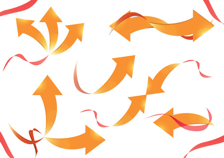 flechas curvas: Collection of curved arrows, Vector designs with gold arrow and red ribbon.