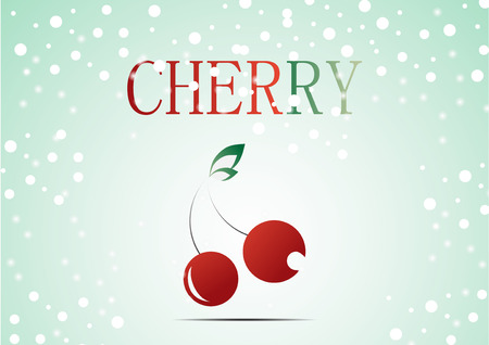 winter cherry: Red cherry with christmas theme add with snow