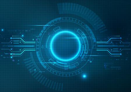 Futuristic Blue Technology Background Vector  イラスト・ベクター素材