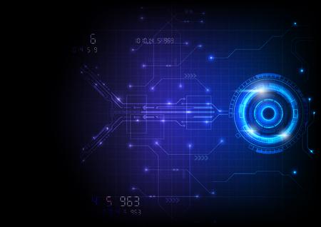 Futurystyczna technologia obwodów gry w niebieskim świetle Ilustracje wektorowe