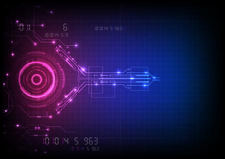 Tecnologia del circuito di gioco futuristico rosa blu Vettoriali